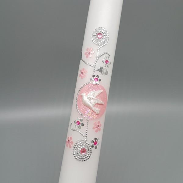 Kommunionkerze AMELIE rosa glitzer