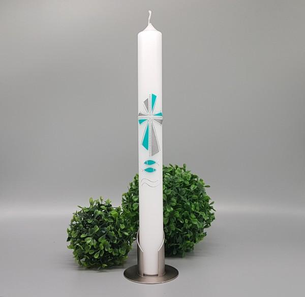 Kommunionkerze Modernes Kreuz Türkis/Silber