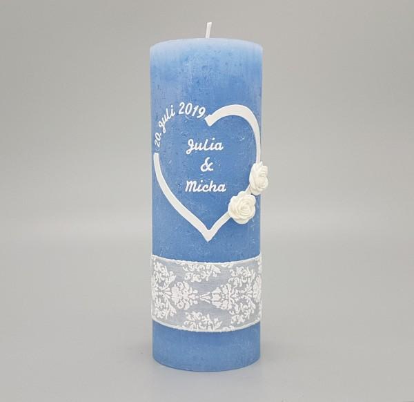Hochzeitskerze Blau Vintage mit Herz