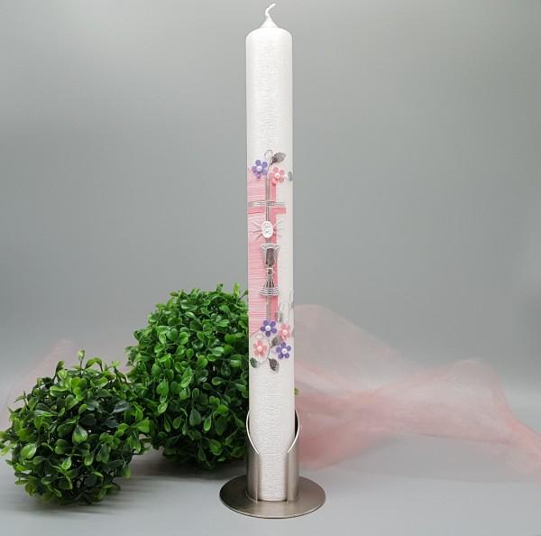 Kommunionkerze CLAUDIA rosa lila