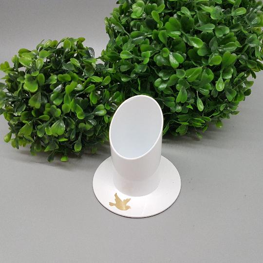 Kommunionkerze Kerzenhalter Taube freie Farbwahl weiß Ø 4 cm
