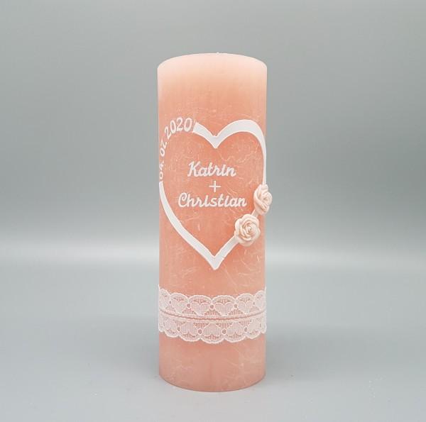 Hochzeitskerze Vintage Herz Gentle Pink/Apricot