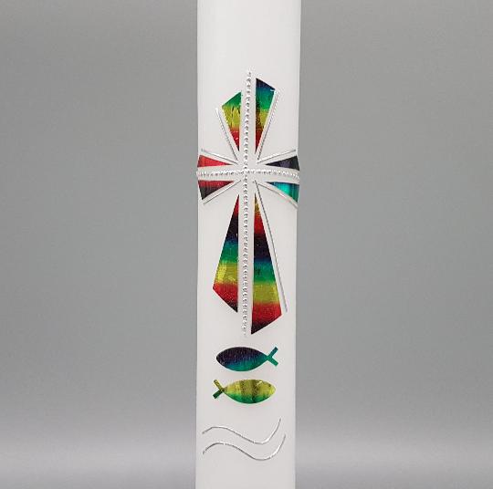 Kommunionkerze Modernes Kreuz Regenbogen Metallic