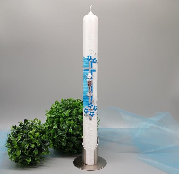 Kommunionkerze 2020 400x40mm modernes Design blau Perlmutt