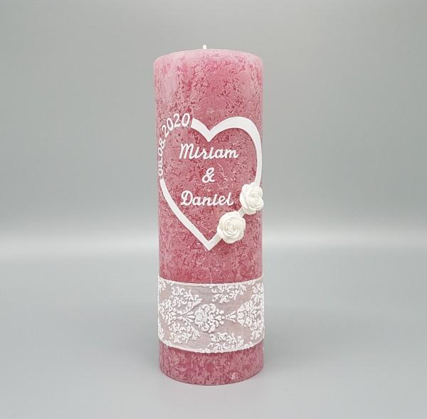Hochzeitskerze Altrosa Vintage mit Herz