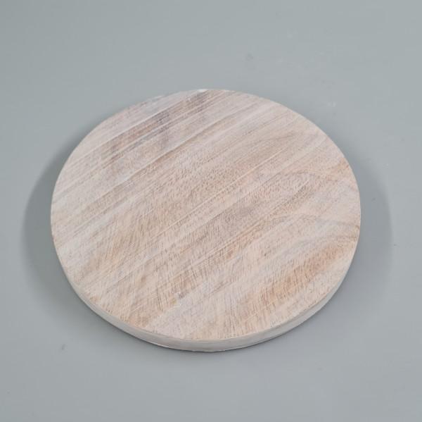 Kerzenteller Holz 10cm hell