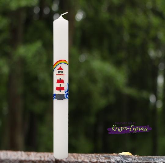 Kommunionkerze Taufkerze für Junge oder Mädchen mit Leuchtturm und Regenbogen inkl. Beschriftung
