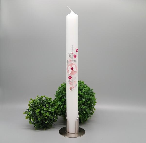 """Kommunionkerze """"Selina"""" für Mädchen/Junge Kreuz, Blumen lila"""